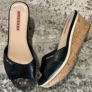 Prada black cork platform slide wedge sandals